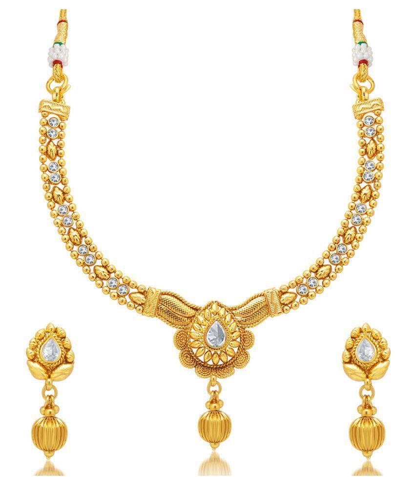 Sukkhi Graceful Jalebi Gold Plated AD Necklace Set For Women