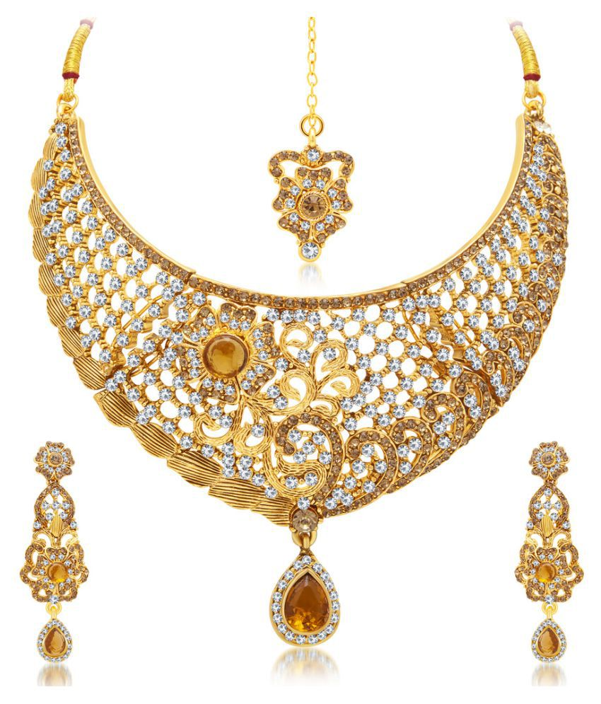 Sukkhi Modish Gold Plated AD Necklace Set With Maang Tika For Women