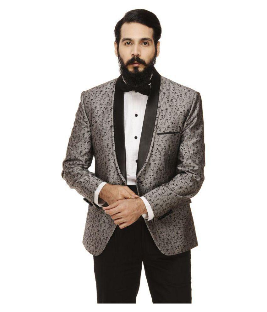 Monteil & Munero Grey Printed Casual Blazers