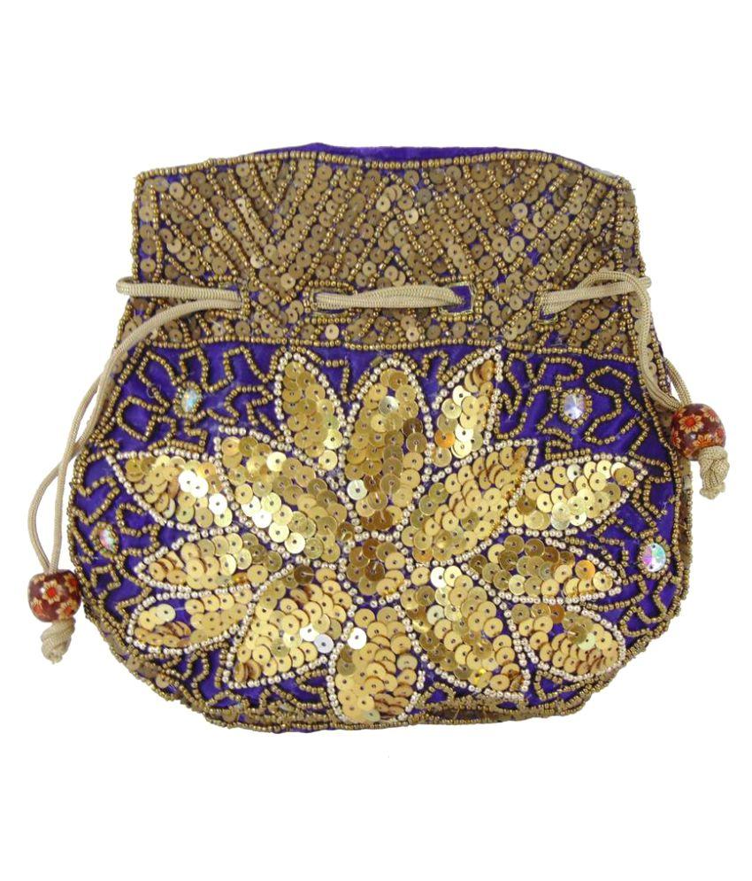 Shree Ganpati Plaza Purple Fabric Potli