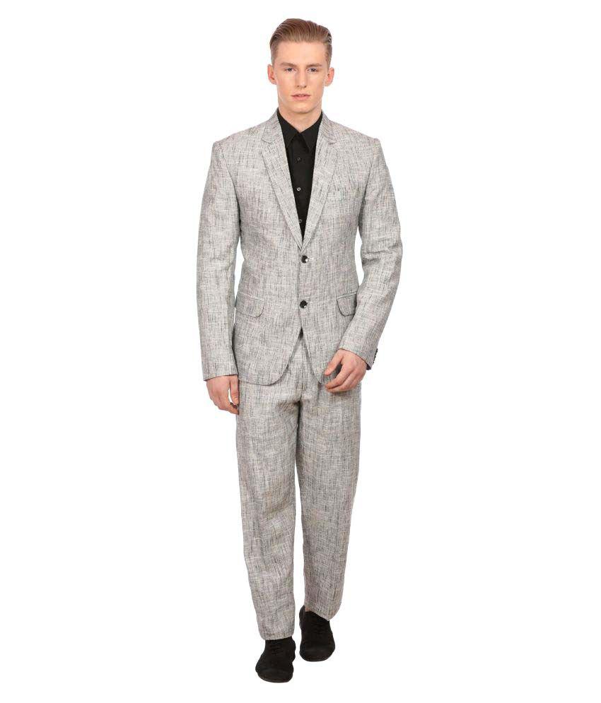 Wintage Grey Solid Party 2 Piece Suits No