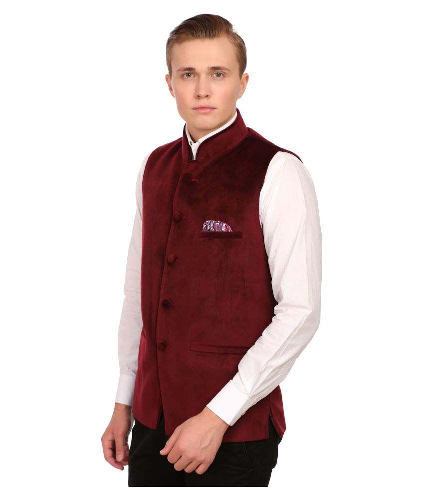 Wintage Maroon Solid festive Waistcoats