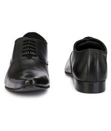 Delize Black Office Genuine Leather Formal Shoes