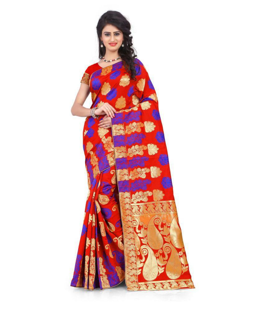 Granth Red and Beige Polycotton Saree