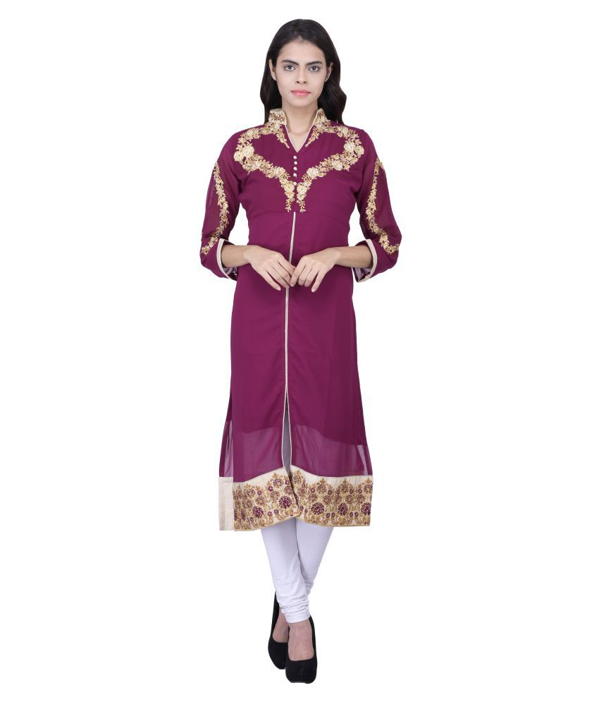 Jiya Purple Georgette Front Slit Kurti