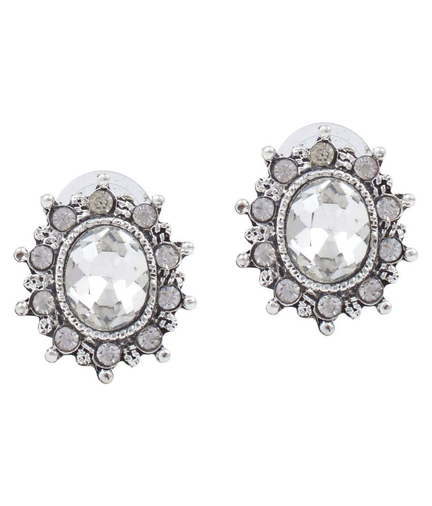 Memoir Silver Plated Victorian Inspired Facetted Oval Cut White Stone CZ Earrings
