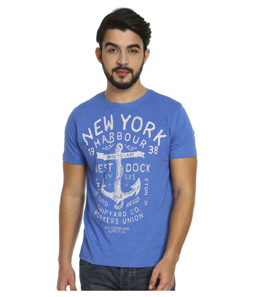 Fast N Fashion Blue Round T-Shirt