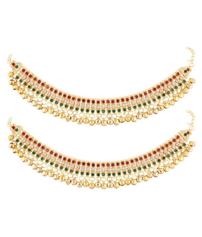 Jewels Gold Antique Collection Multicolor Anklet Set