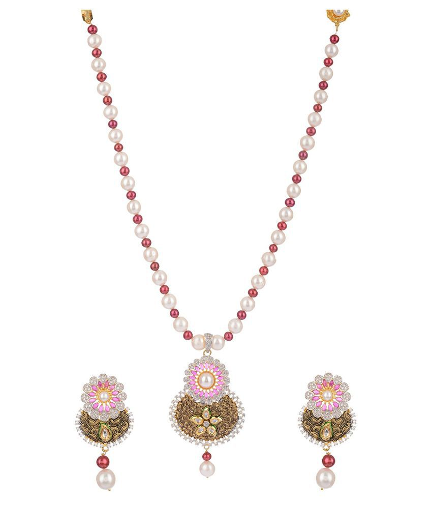 Mangatrai Pearls Mullticolor Necklace Set