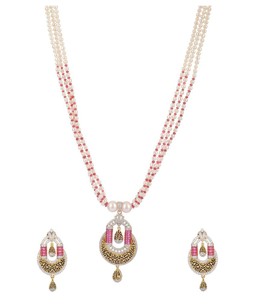 Mangatrai Pearls Multicolor Gold Plated Necklace Set