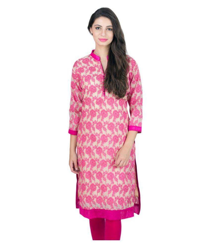 Elearray Wear Pink Brocade Straight Kurti