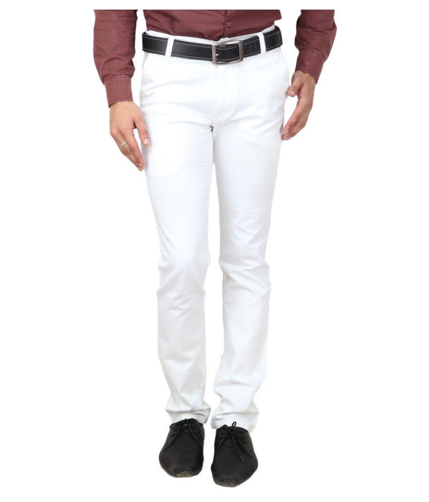 Wralvin White Slim Flat Trouser
