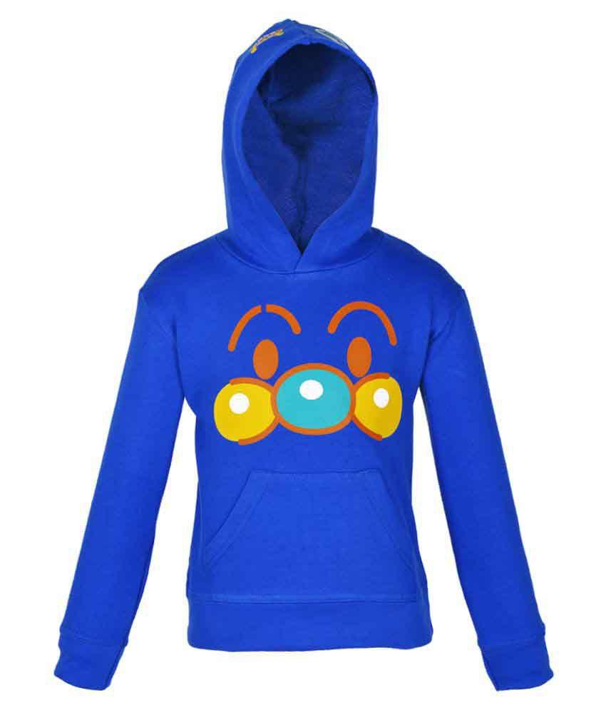 Gkidz Royal Blue Crew Neck Boys Full Sleeve Hooded Sweatshirt