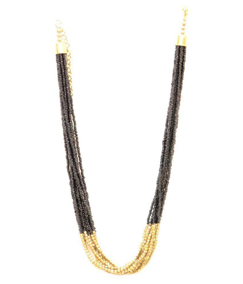 Galz4ever Black & Golden Poth Necklace