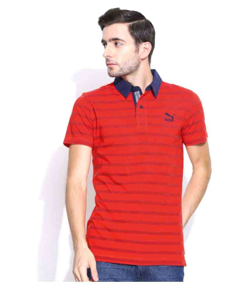 Puma Red Regular Fit Polo T Shirt