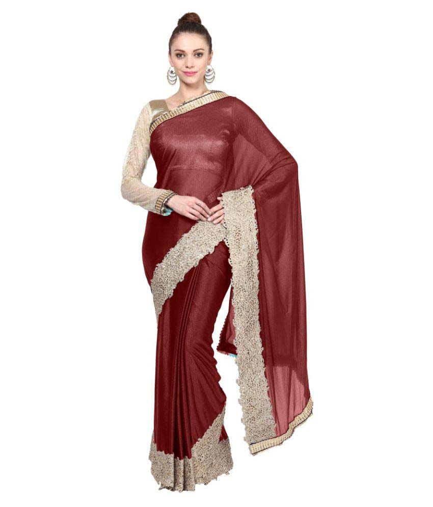 Aagaman Fashions Brown Lycra Saree