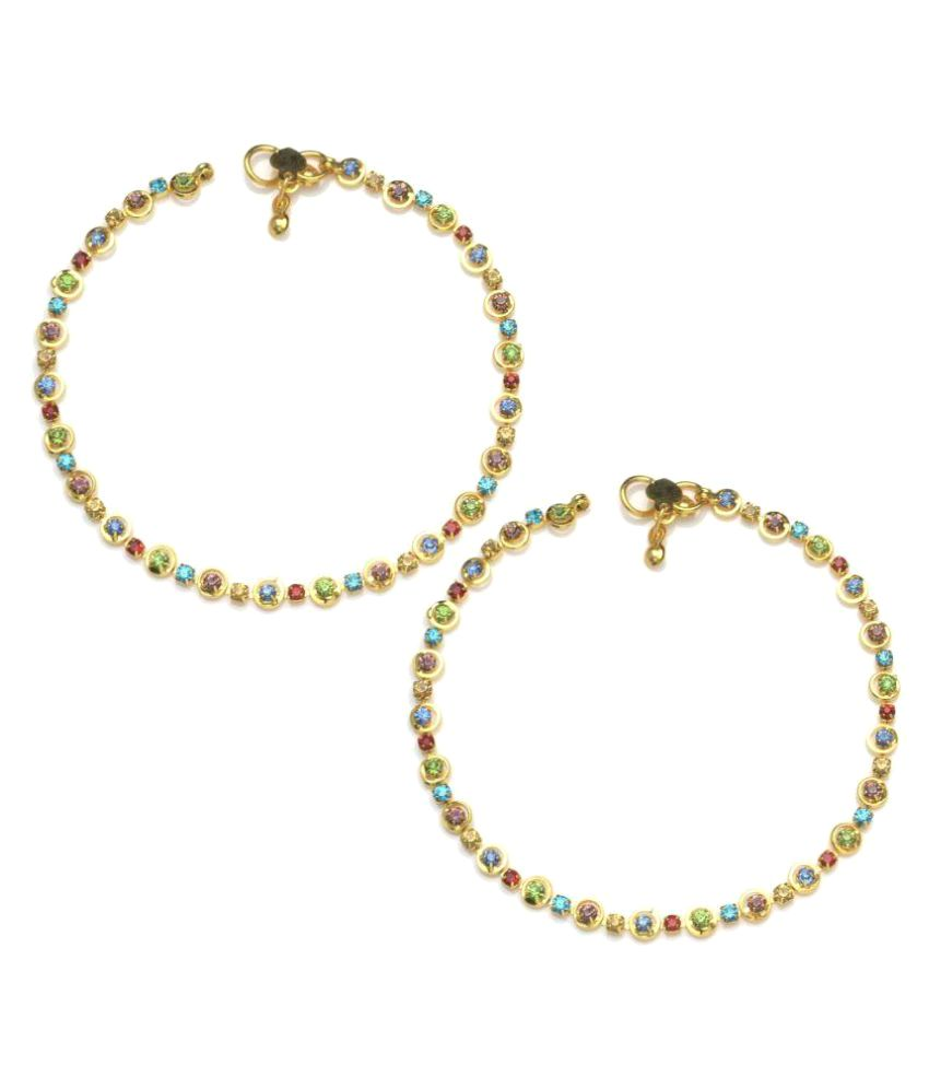 Charms Golden Ethnic Antique Kundan Studded Alloy Anklet Combo of 2