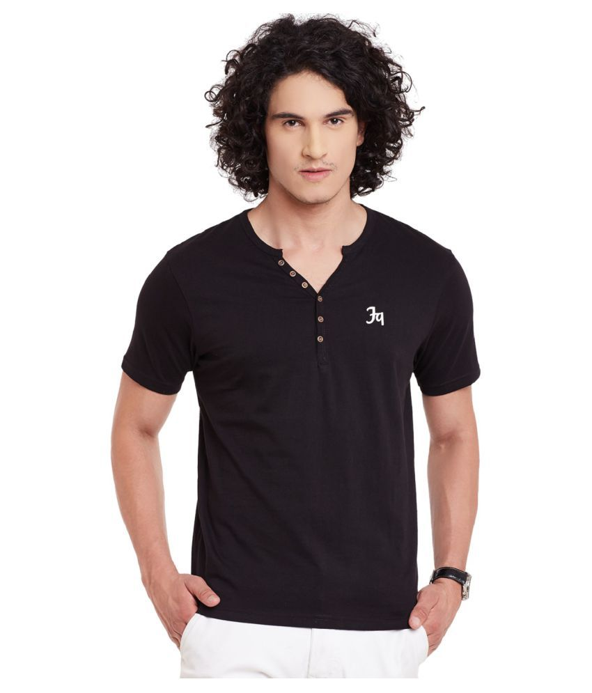 Fast N Fashion Black Henley T-Shirt
