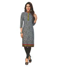 Hi-Fashion Grey Cotton Printed Unstitched Kurti - 658915587343