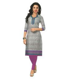 Hi-Fashion Grey Cotton Printed Unstitched Kurti