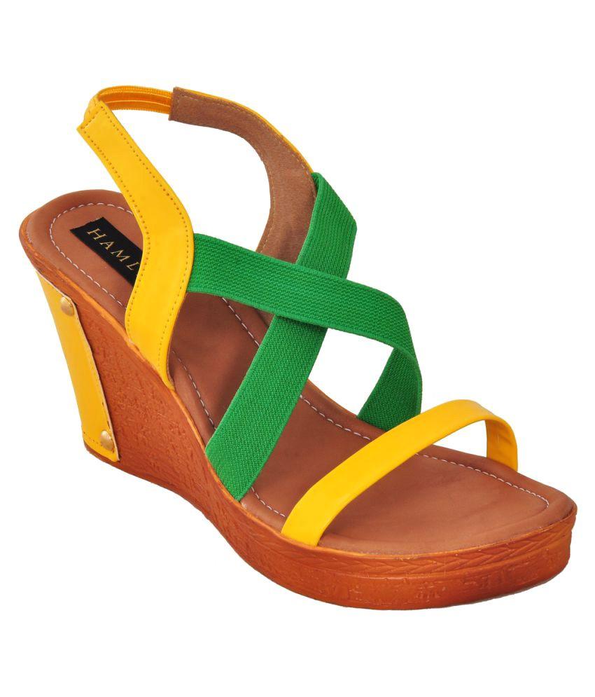 Hamlyn Shoes Yellow Platforms Heels