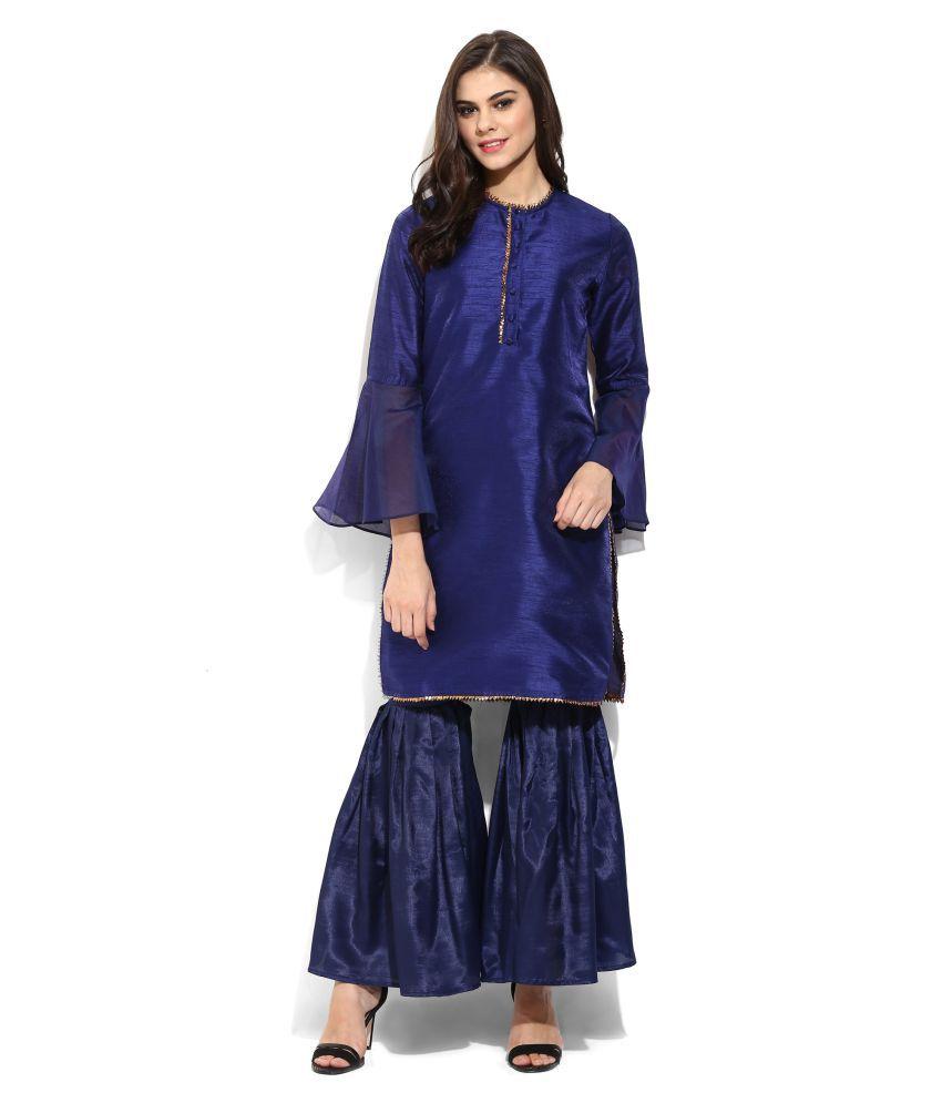 Navy Silk Kurta with Sharara Pants
