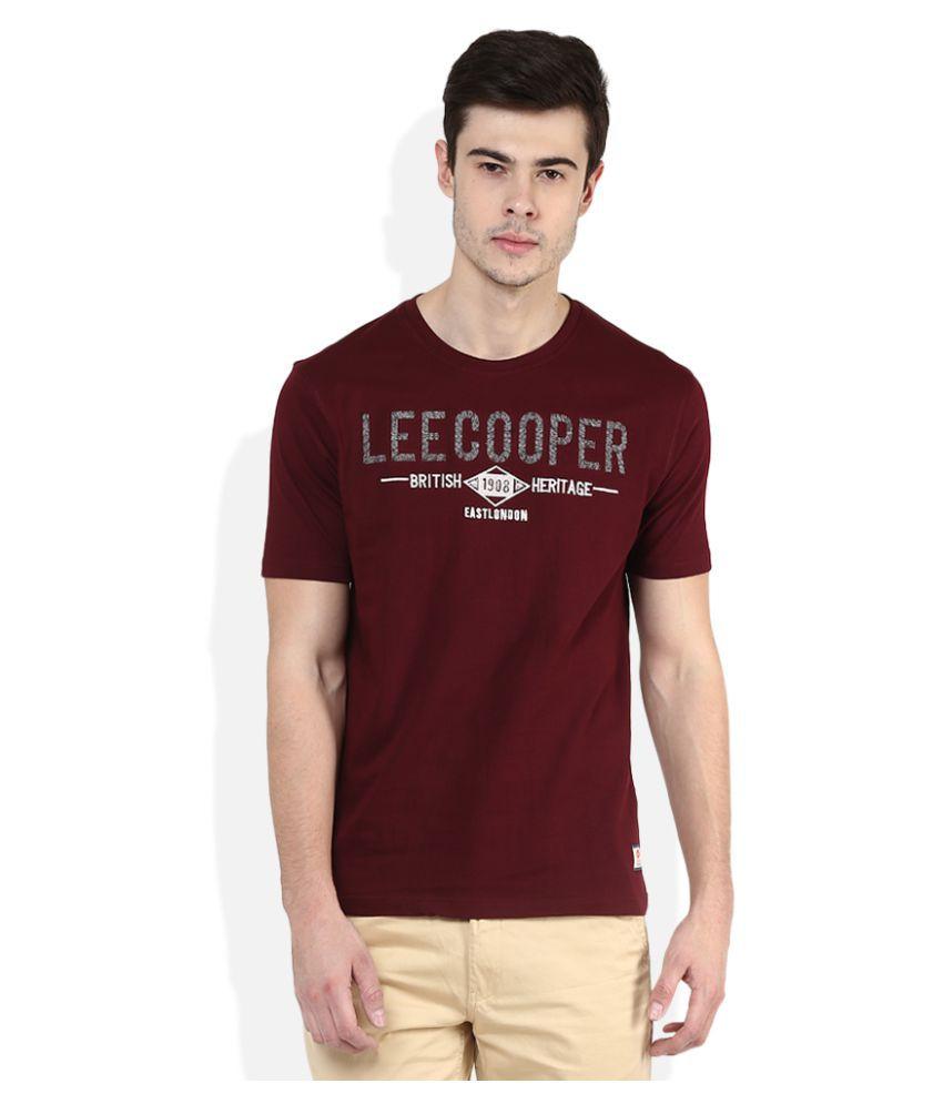 Lee Cooper Maroon Round T-Shirt