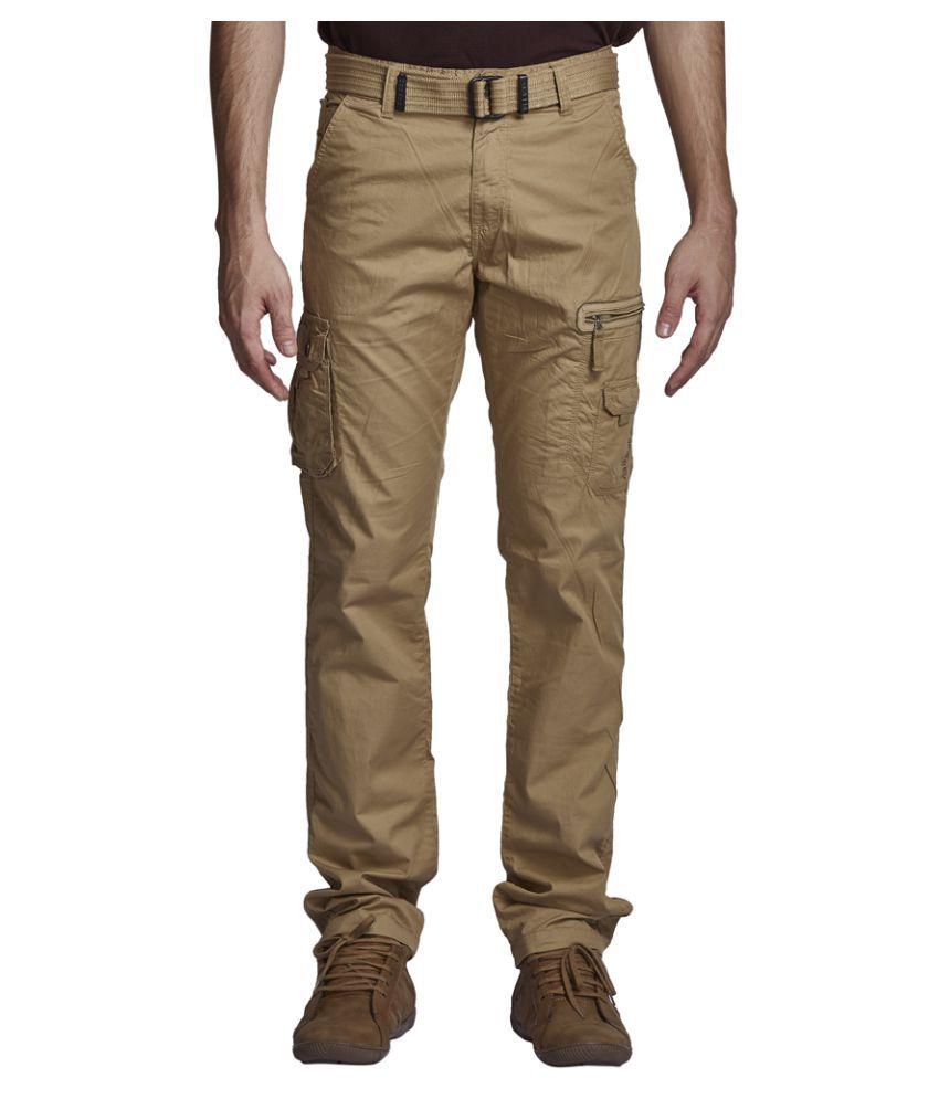 Beevee Khaki Regular Flat Trouser