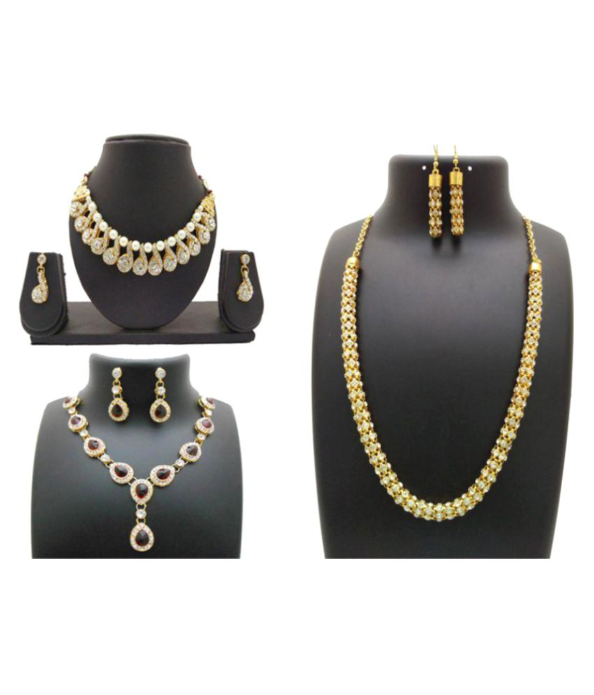 My Design Gold Plated Pearl Stone Bridal Necklace Set - Pack of 3