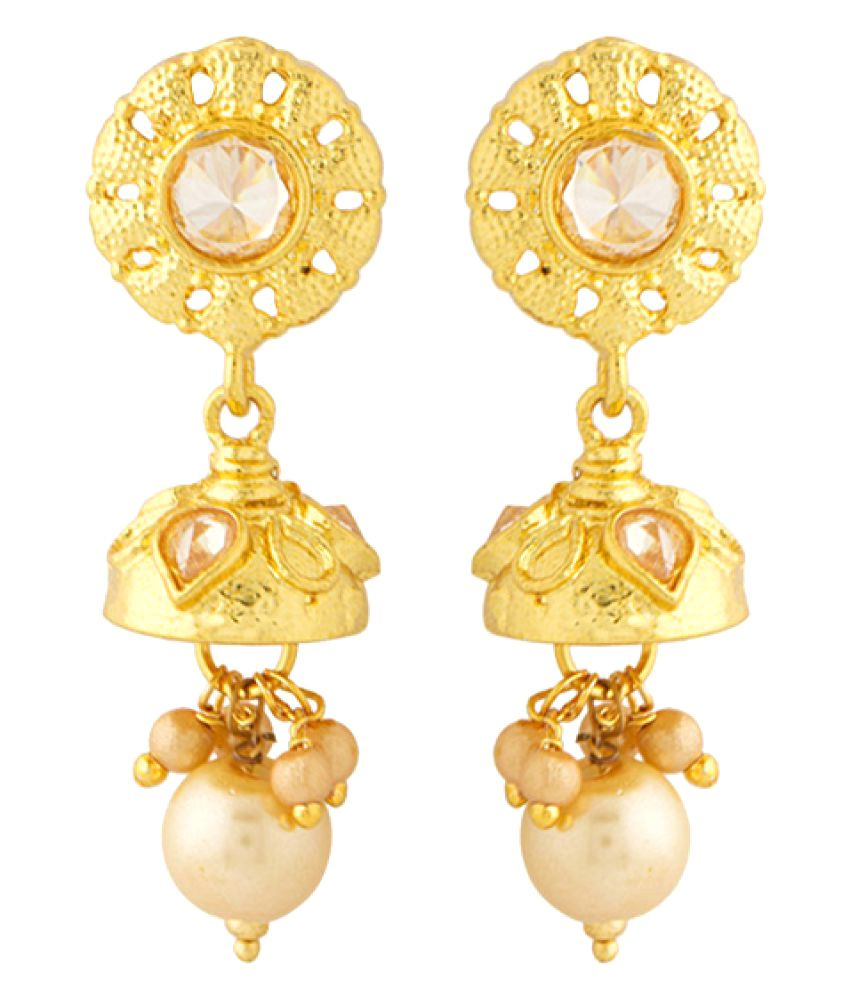Voylla Golden Single Pair Drops Earrings Earrings