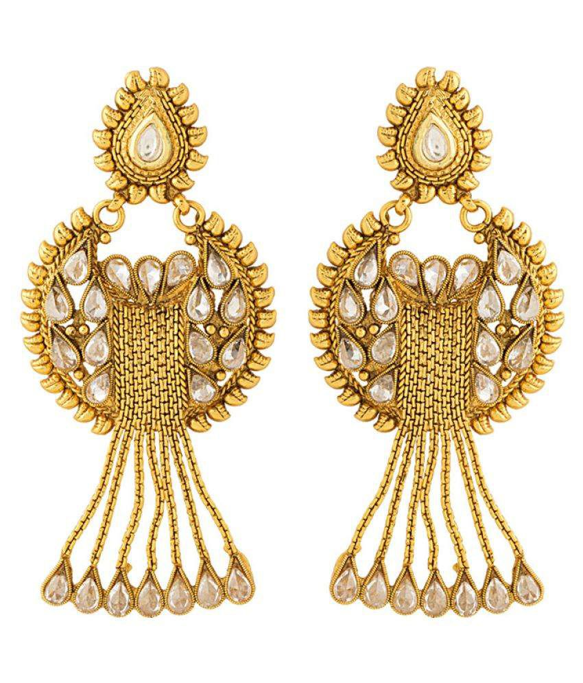 Voylla Golden Alloy Hanging Earrings
