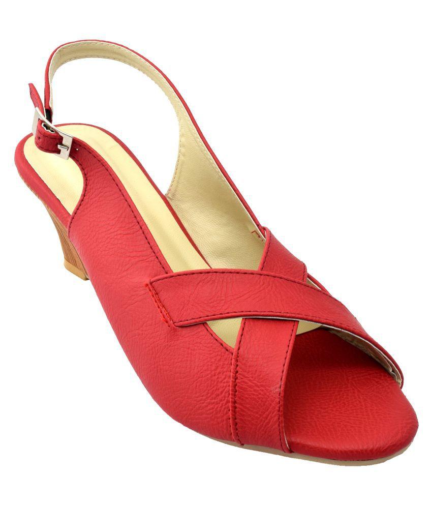 New Divas Red Wedges Heels
