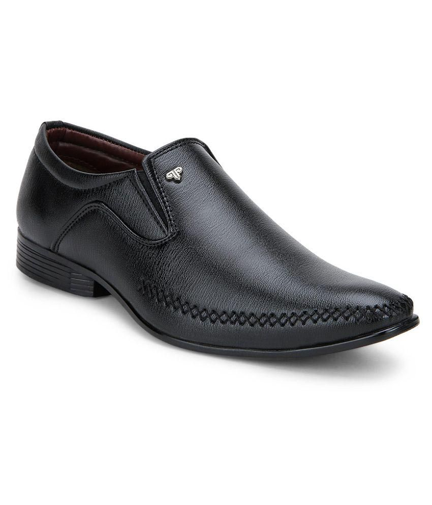 provogue black office non leather formal shoes price in