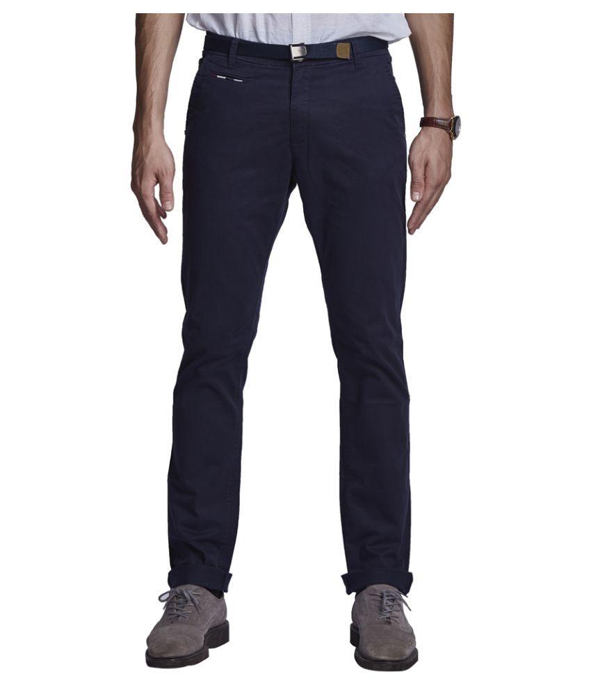 Beevee Navy Blue Regular Flat Trouser