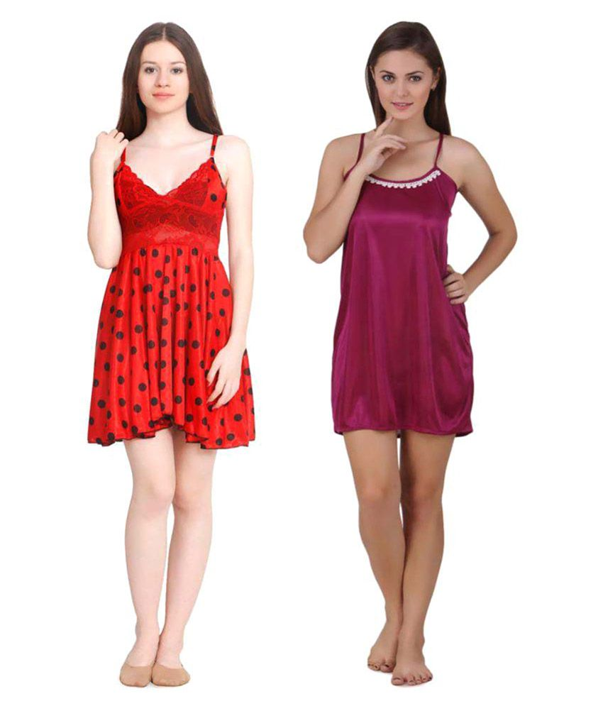 Freely Satin Baby Doll Dresses Without Panty