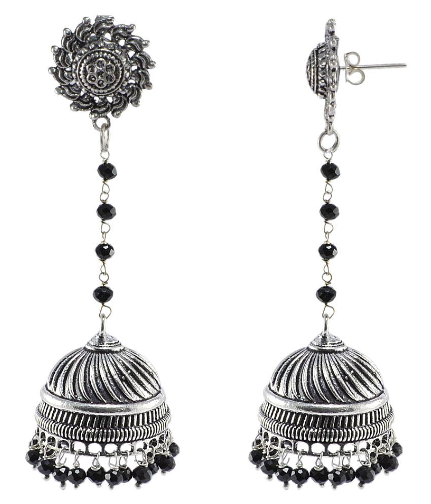 Silvesto India Silver Crystal 925 Silver Plated Studs Rajasthani Jewellery Jhumki Earrings For Womens