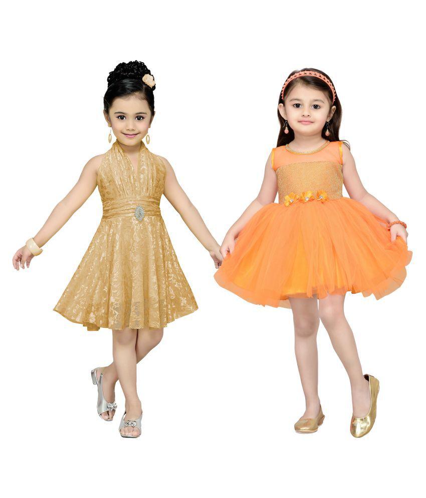 efe74cdac Aarika Girl s Self Design Premium Net Birthday Special Frock (Combo ...