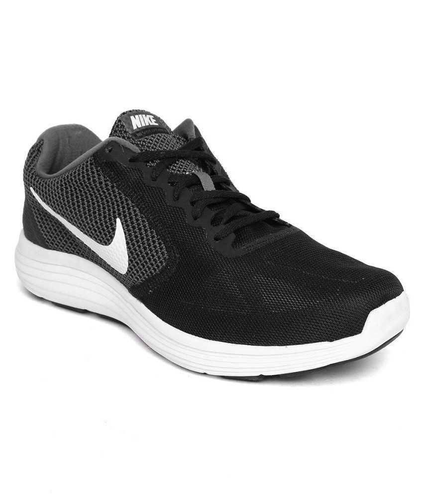 Nike NIKE REVOLUTION 3 Black Running Shoes ...