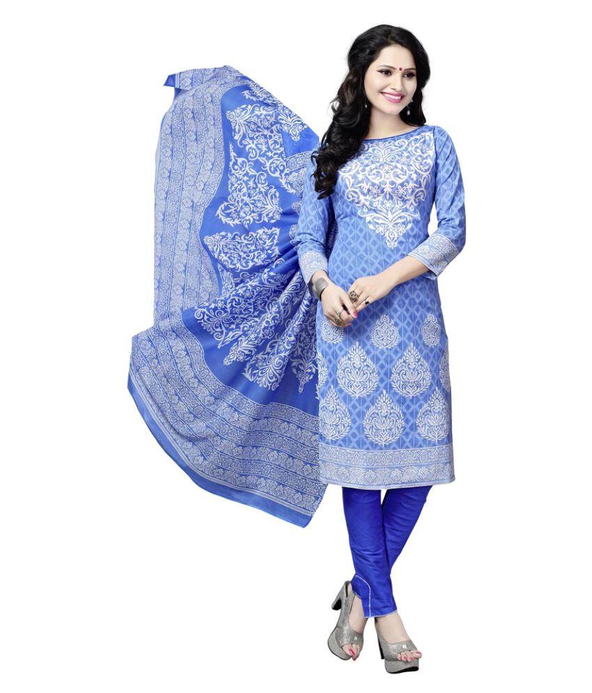 Minu Blue Cotton A-line Stitched Suit