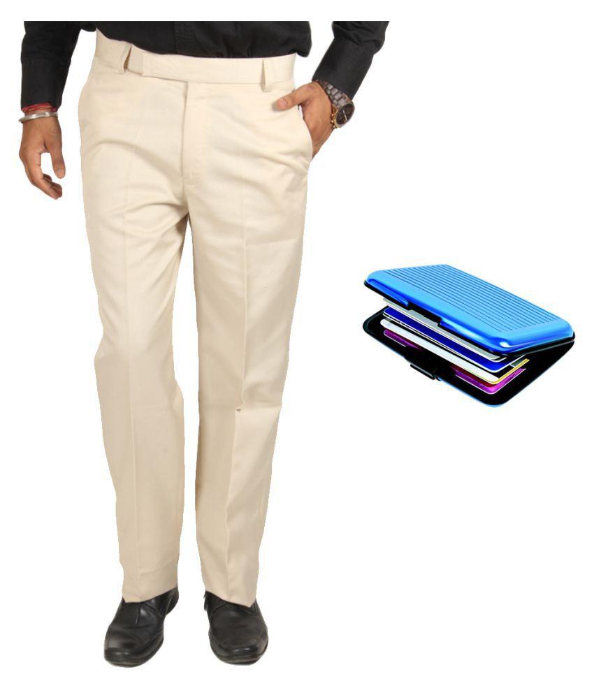 Van Galis Off White Regular Flat Trouser