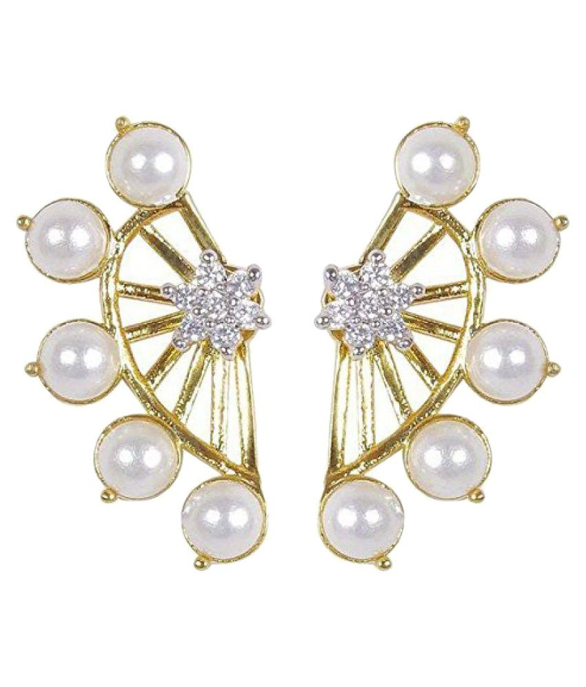 ShinningDiva Pearls Multicolour Ear Cuffs