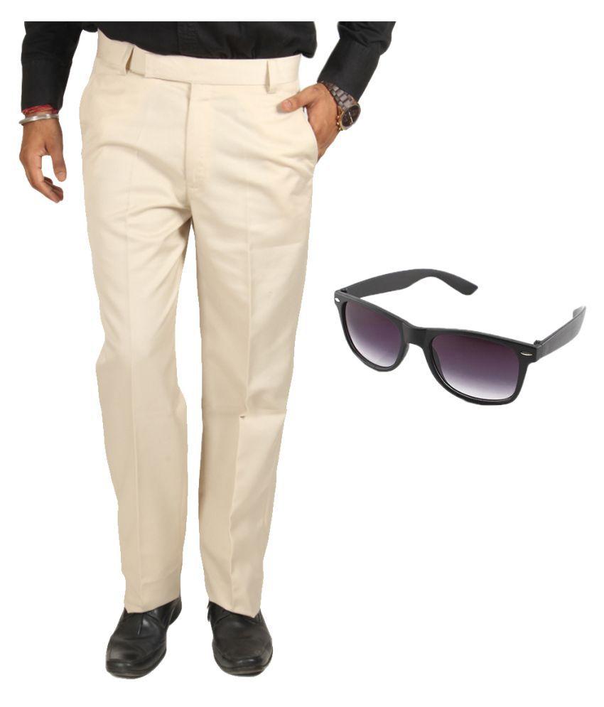 Van Galis Beige Regular Pleated Trouser