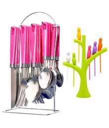 Rocks 24 Pcs Stainless Steel Serving Spoon With Stand - 636005699364