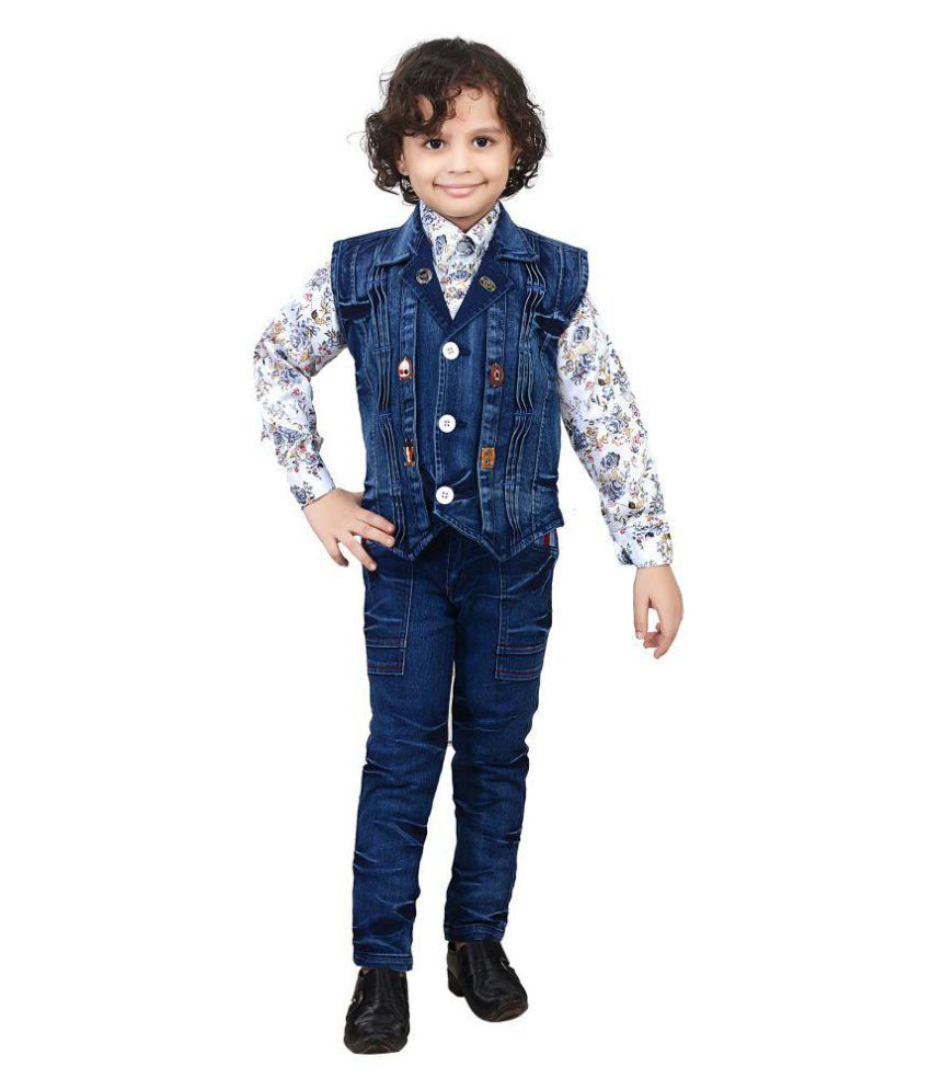 J D Creation Blue Denim Shirt And Jeans With Jacket