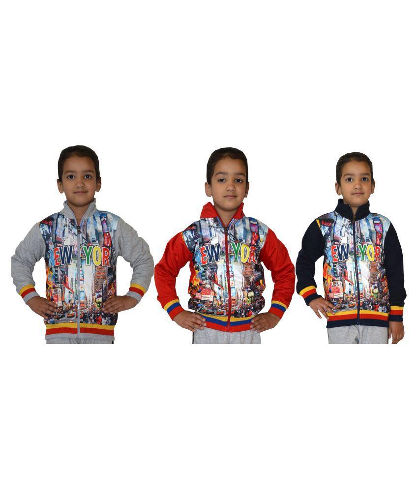 Shaun Multicolour Front Open Girls Sweatshirts-Pack of 3
