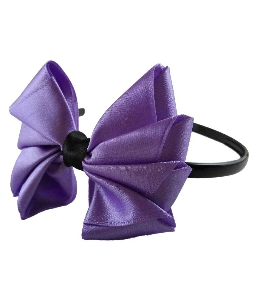 Threads N Ribbons Purple Plastic Bow Hair Band