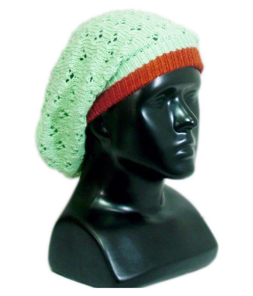 248519971a9 VR Designers Unisex Vibrant Green Handmade Beanie Cap  Buy Online at ...