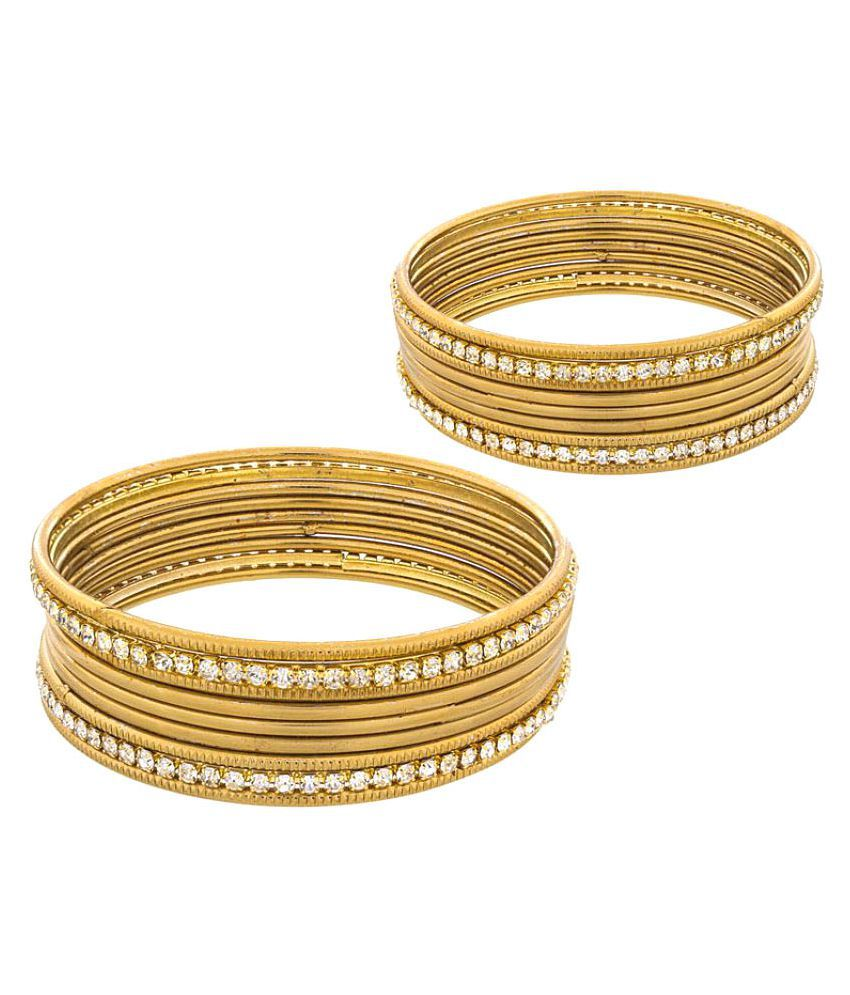 Vook Golden Alloy Bangle - Set of 18