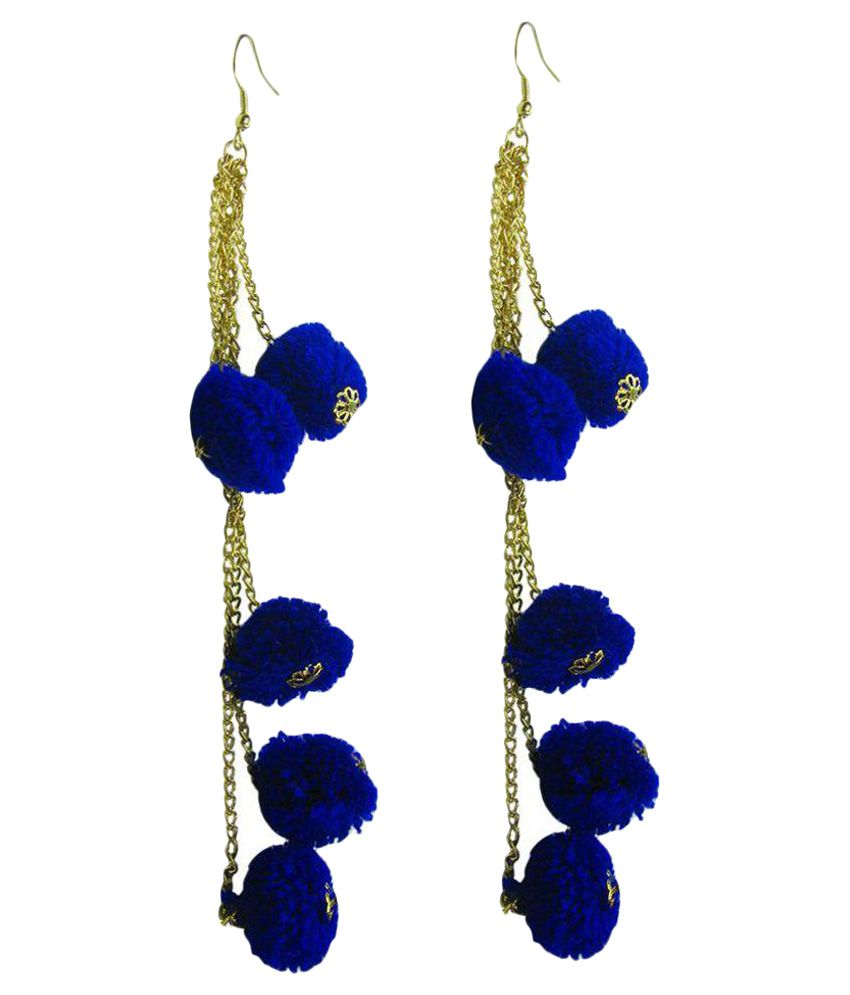 Collana unique blue colour ultra modern latest fashion three layer hangings earing with pure cotton knitted pouffe  is of ultra light weight