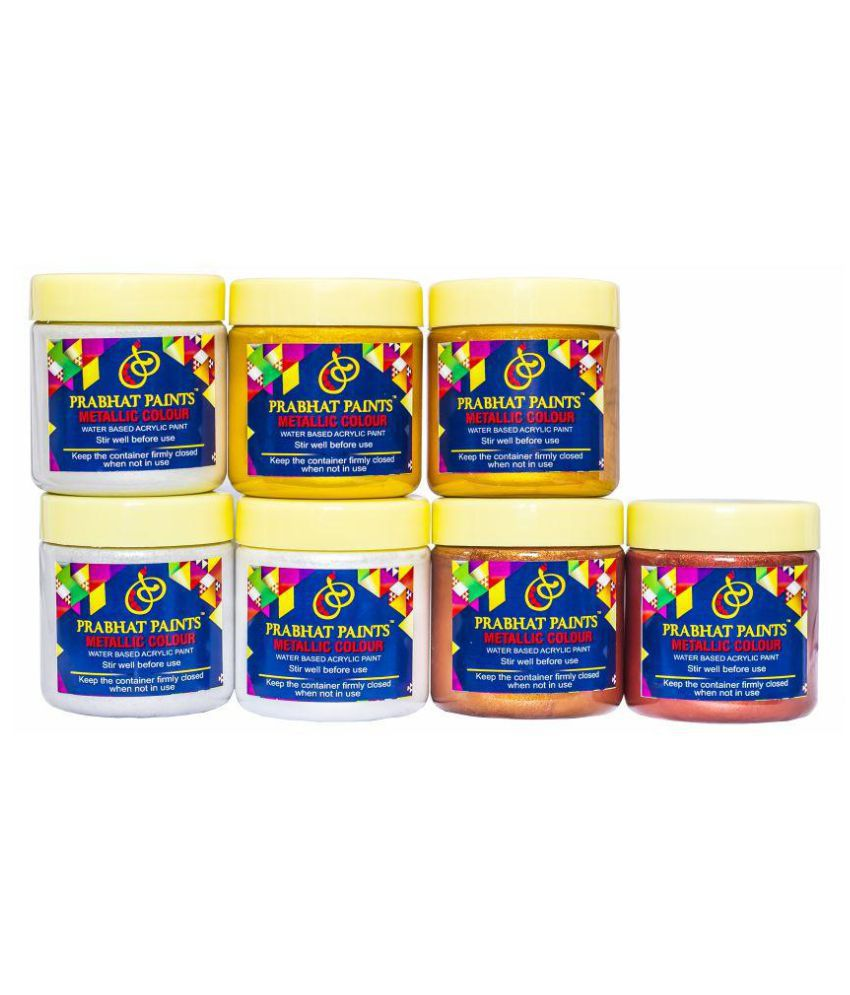 Prabhat Paints Water Based 7 Piece Water Based Metallic  / Pearl Colours - 200 gm each